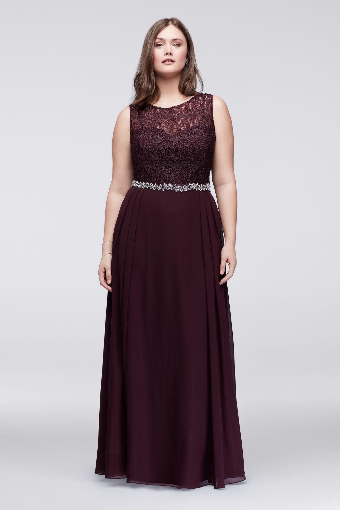 Plus size dw long aline lace and chiffon party gown dresses