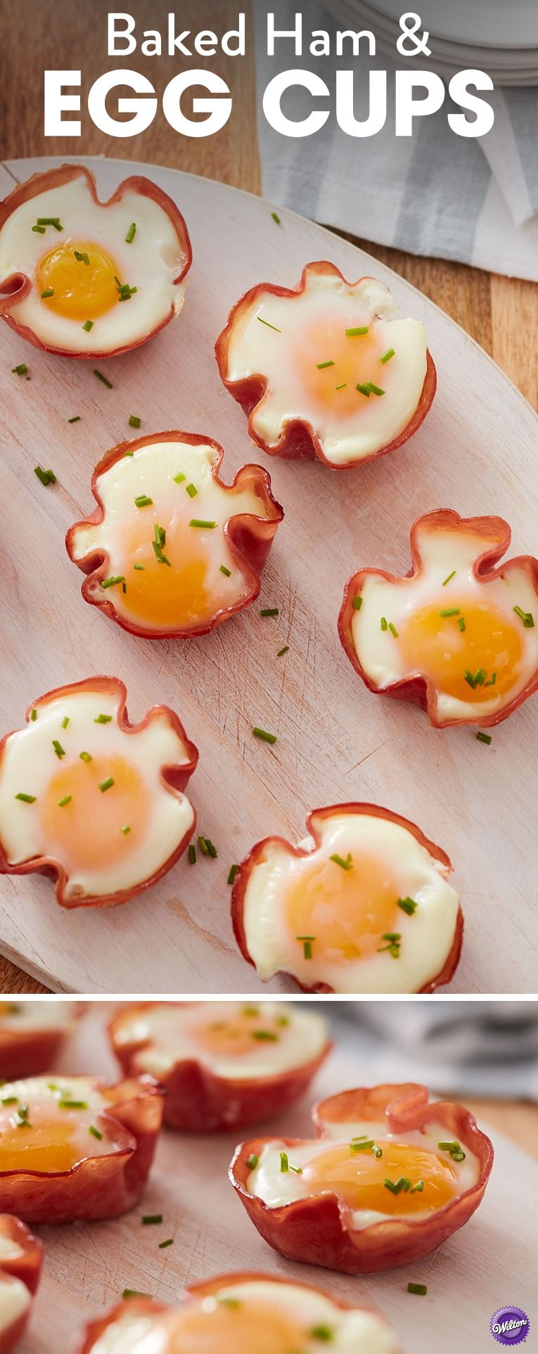 Baked Ham & Egg Cups Recipe - Use your muffin pan to create these delicious baked ham and egg cups for a protein-packed breakfast. Brush ham slices evenly with a thin layer of mustard. Place 1 slice in each of the prepared pan cavities to form a cup, mustard side facing up. Crack an egg into each of the cups and sprinkle evenly with salt and pepper. Bake 14-16 minutes. Makes 2 dozen baked ham and egg cups.