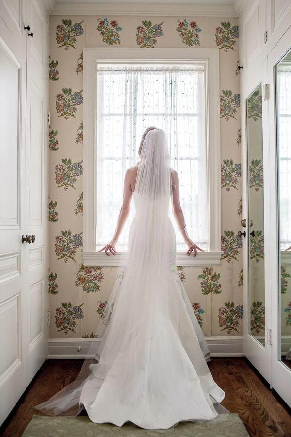 Long Chapel Length Tulle Wedding Veil VL3010