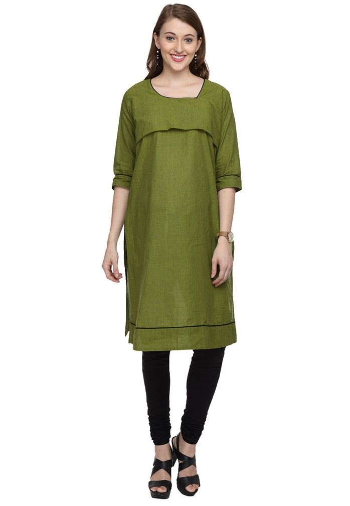 f64f30a105b7 Tunic Tops · green-breastfeeding-kurta Kurta Designs, Dress Designs,  Breastfeeding Clothes, Maternity Wear