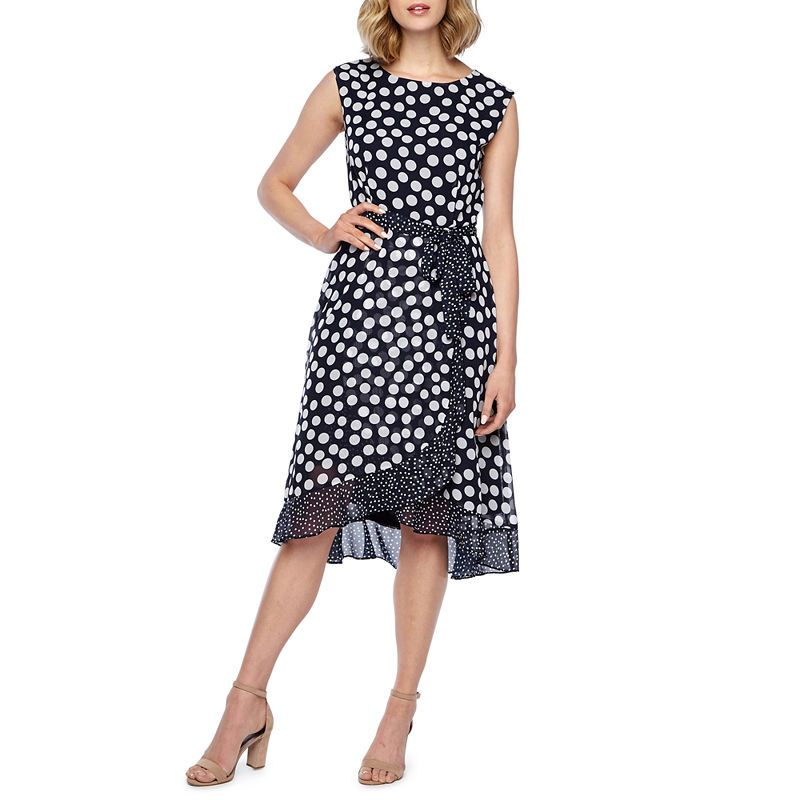 MyMust Womens Ladies White And Blue Polka Dot Summer Holiday Casual Midi Dress