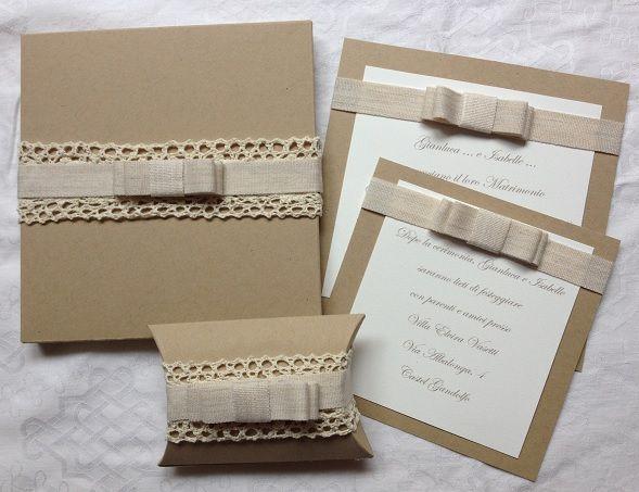 Partecipazioni Matrimonio Carta Kraft.Partecipazione Shabby Chic Carta Kraft Partecipazione Matrimonio