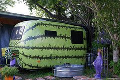 I would love to tow a watermelon!  Cool paint job on this otherwise boring fiberglass trailer.