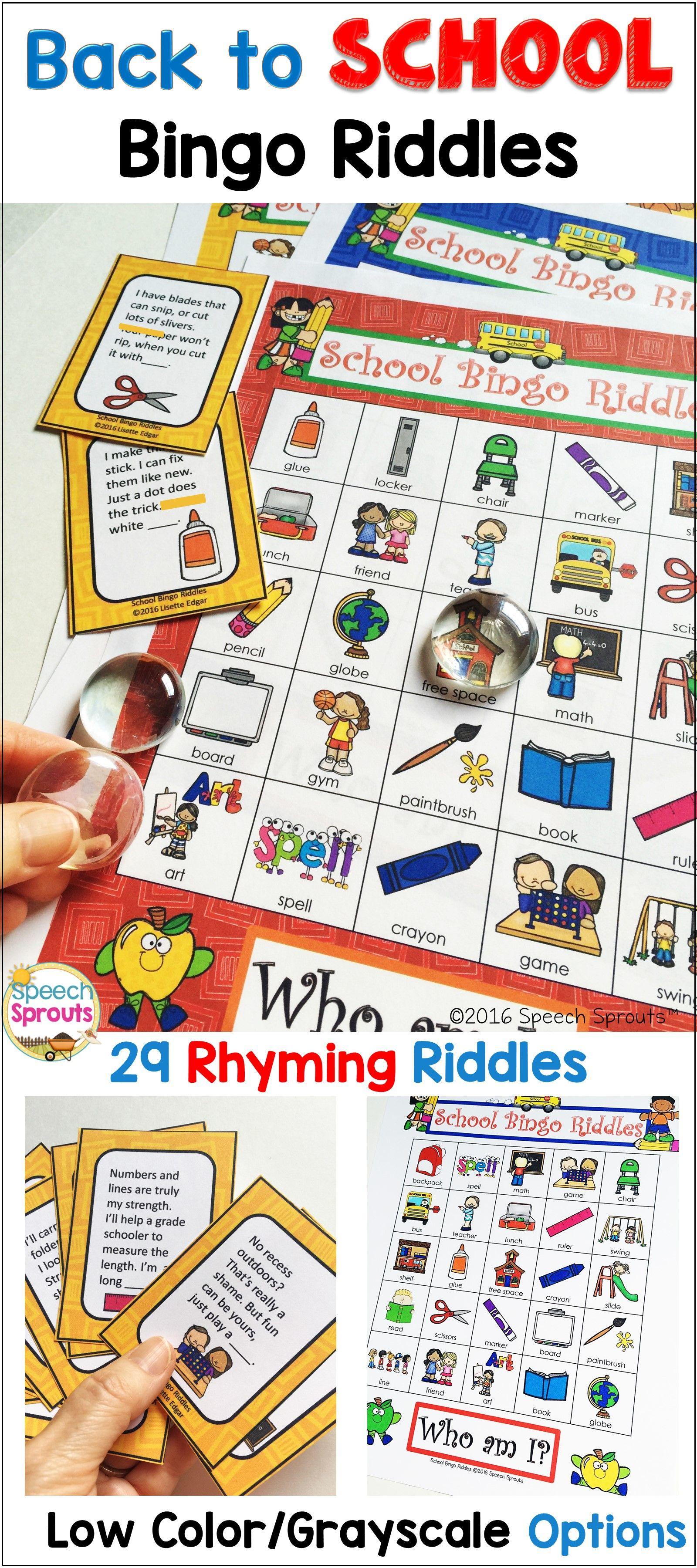 Back To School Bingo Riddles