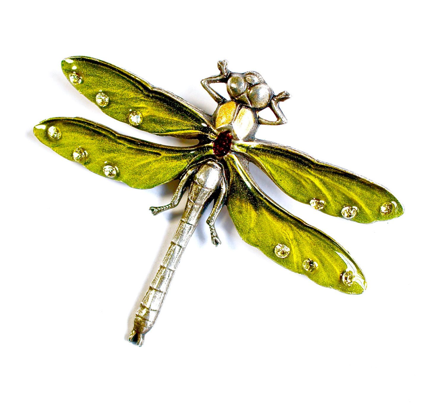 Salad Green Enamel Dragonfly Brooch G32YW