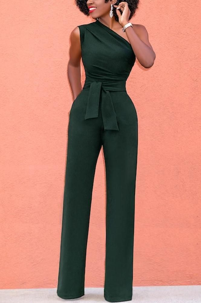 4bf0ddd984484 A| Chicloth One Shoulder Casual Jumpsuit Sleeveless Wide Leg High Waist  Solid Rompers