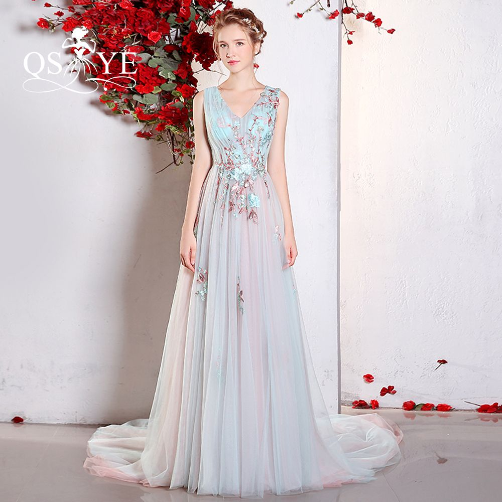 new design emboridery appliques long prom dresses sexy v neck
