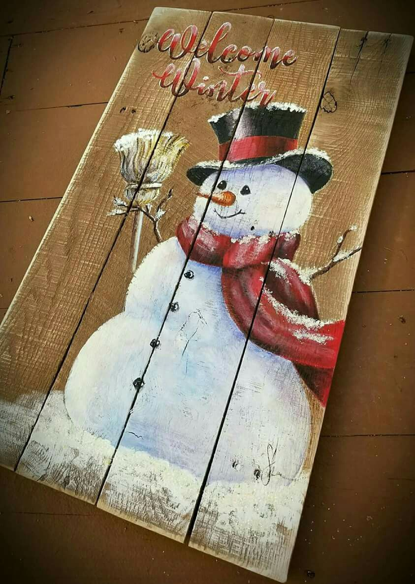winter Snowman painting on wood Wooden christmas
