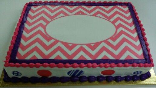 Pink and Purple Simple Chevron Monogram Quarter Sheet
