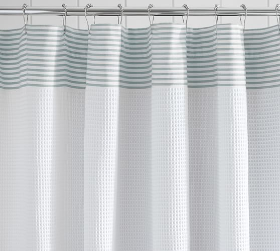 Striped Dobby Waffle Weave Shower Curtain Curtains Fabric
