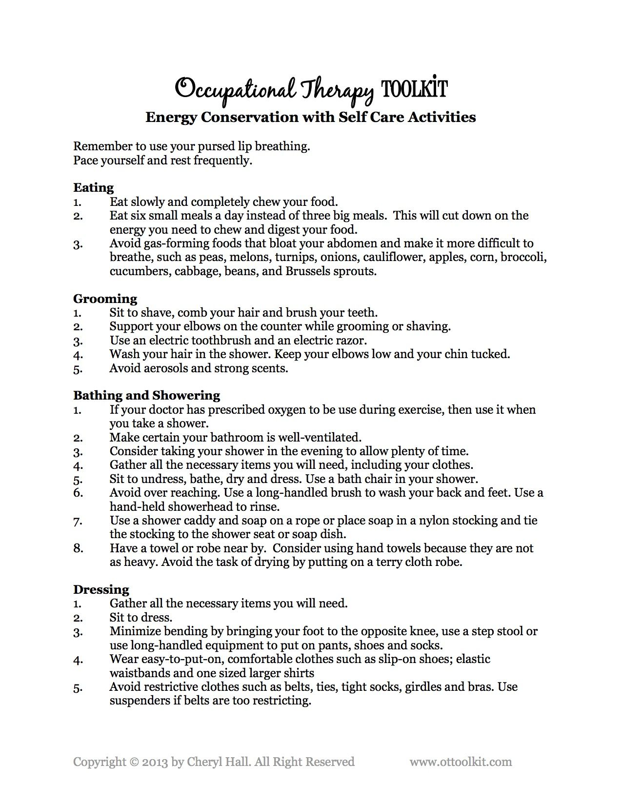 Saving Energy With Self Care Activities