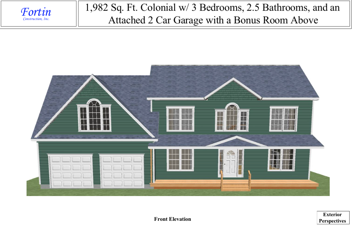 Floorplans for 1 900 square foot colonial home with 3 for Attached garage plans with bonus room