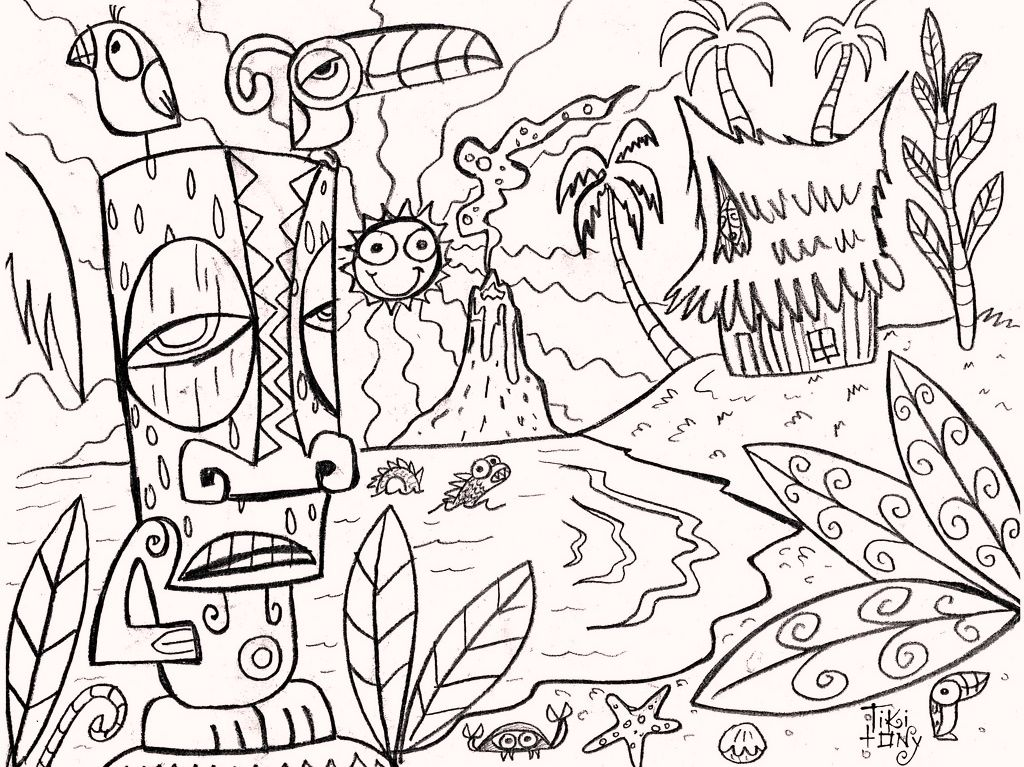 Hawaii Themed Coloring Pages