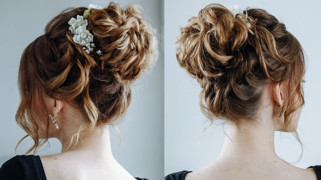 High curly messy bun\ the topknot updo | Messy curly bun ...