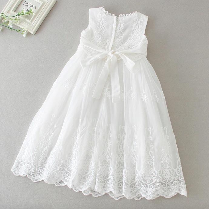 Girls Sleeveless Dress Christening Baptism White Lace Gown Princess Birthday