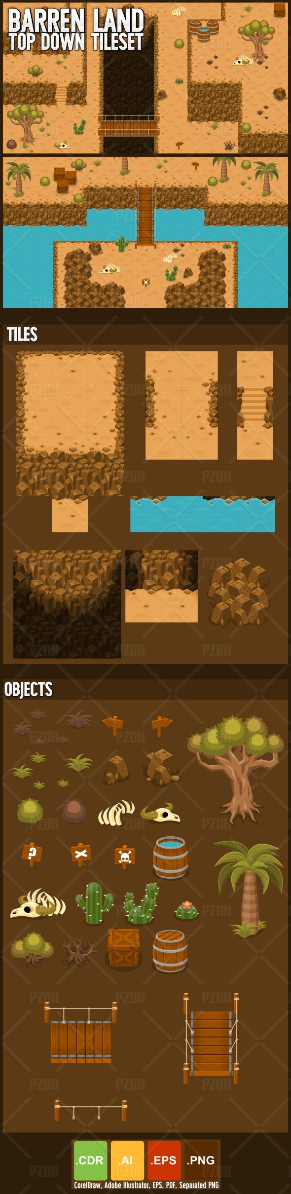 Set of tiles to create a map for top-down games  With desert