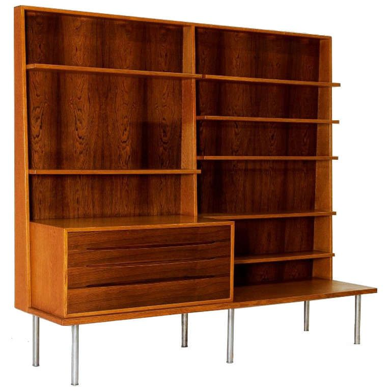 view this item and discover similar bookcases for sale at a rare teak and rosewood bookcase raised on chromed metal legs by johannes hansen