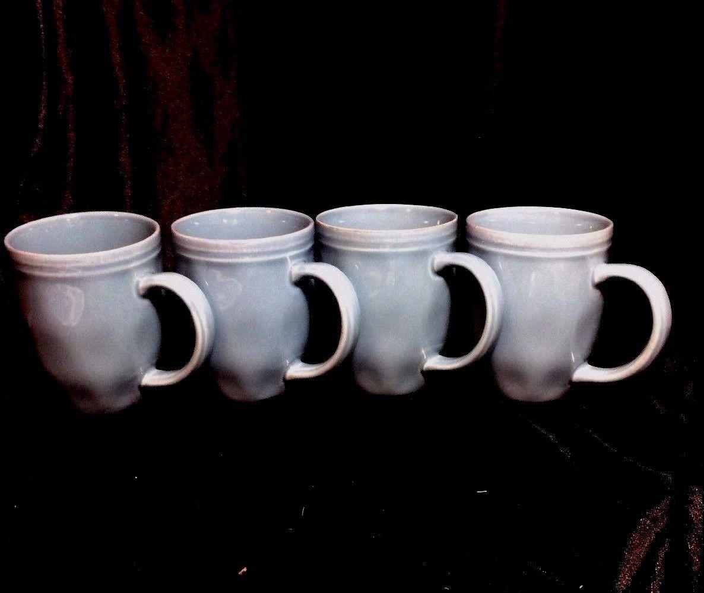 Lot Of Four 4 Rachel Ray Teal Double Ridge Coffee Mugs Cups Cucina