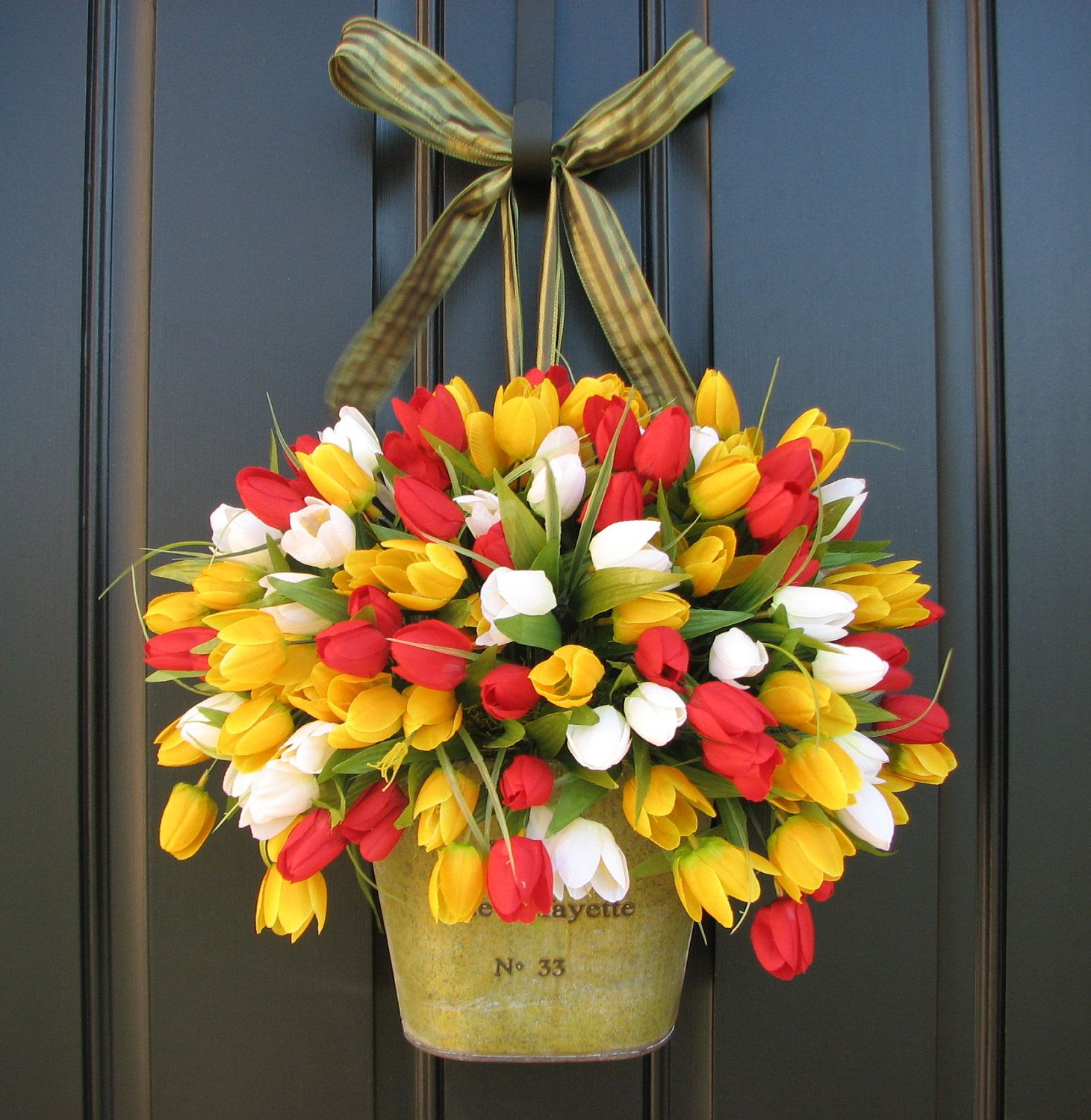 front door decorations for spring | Spring Tulips ...