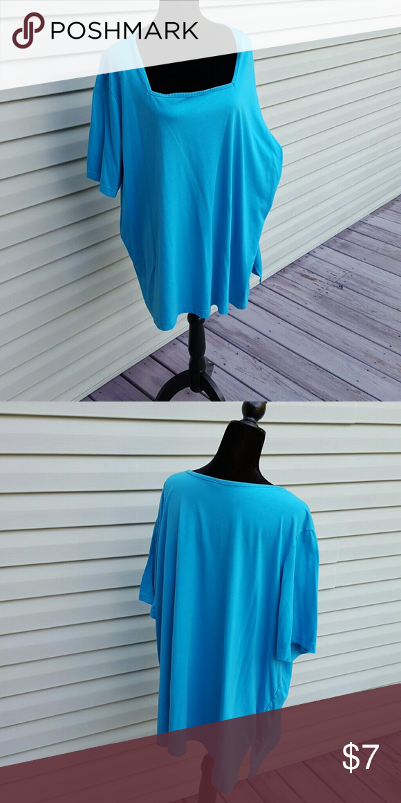 Square Neck Casual Knit Top Cotton blend. Long lenth, side slits. Correct is more teal than blue.  Size tag removed. Tops Tees - Short Sleeve