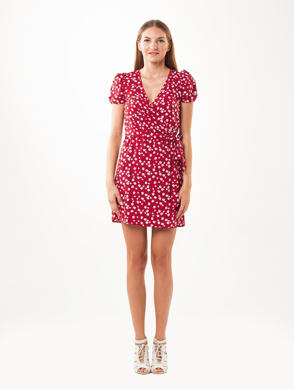 New Look: Red Ditsy Floral Wrap #Women #Dress