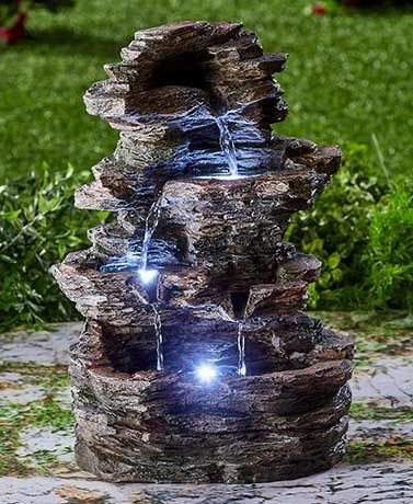 Stacked Stone Look Lighted Fountain Garden Water Fountains Fountains Outdoor Outdoor Waterfalls Outdoor water fountains with lights