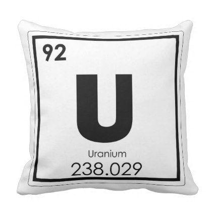 Uranium Chemical Element Symbol Chemistry Formula Throw Pillow