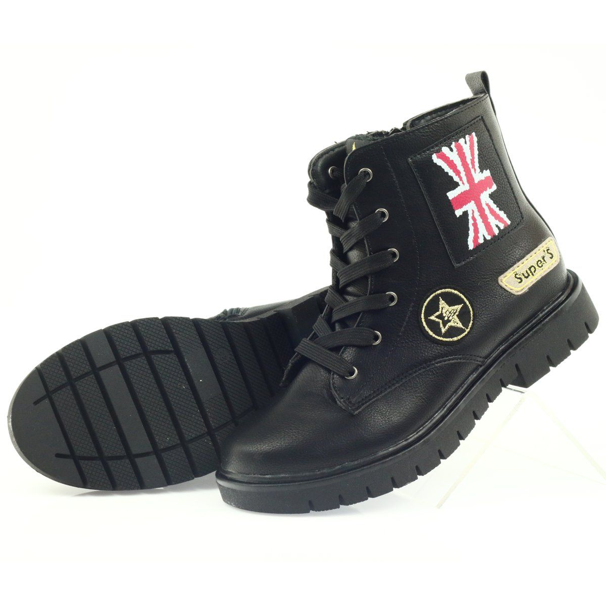 American Club American Super Workery Buty Zimowe Czarne Zolte Czerwone High Top Sneakers Shoes Top Sneakers