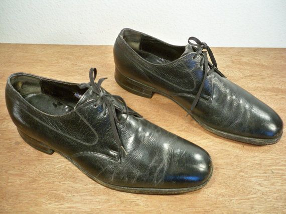 2f5a183cd907f Vintage 1960's FLORSHEIM Made in USA Black Leather Oxford Dress ...