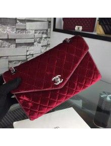 217cd62d1fef50 Chanel Medium Velvet Envelope Flap Bag In Burgundy | Chanel | Chanel ...