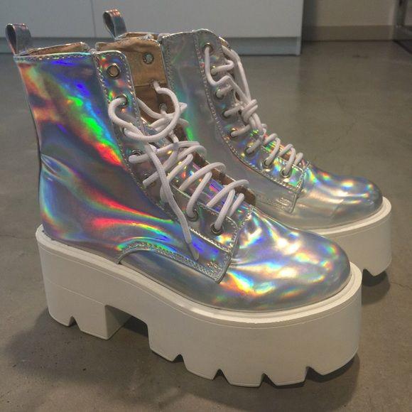 5fb59e9741e HOLO PLATFORM BOOTS SZ 39 NEVER WORN Shoes Platforms Holographic Fashion