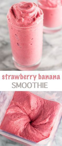 Healthy strawberry banana smoothie recipe made with just three ingredients. All you need is frozen bananas, frozen strawberries, and milk to make this easy smoothie recipe. It tastes like ice cream but is totally guilt free! #Healthy #strawberry #banana #smoothie #recipe #healthystrawberrybananasmoothie