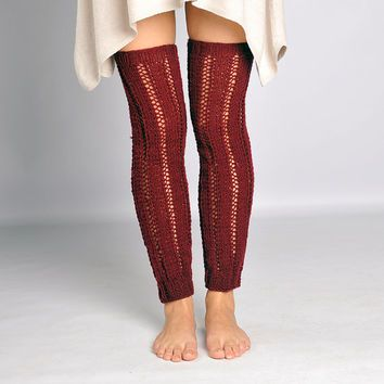 Bordeaux thigh high socks •Christmas gift Red Handknit socks• Knee high socks • Red leg warmers •Over the knee socks • Thigh high knit socks