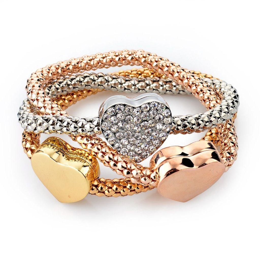 Three Heart Charm Piece Gold Silver Fashion Bracelet Beautiful