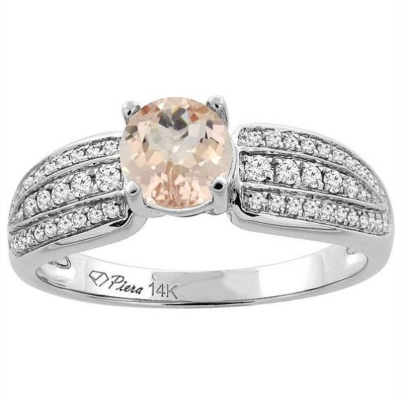 14k White Gold Natural Morganite Engagement Ring, Round, 6mm, 3-Rows of Diamond Accents, Sizes 5 to 10