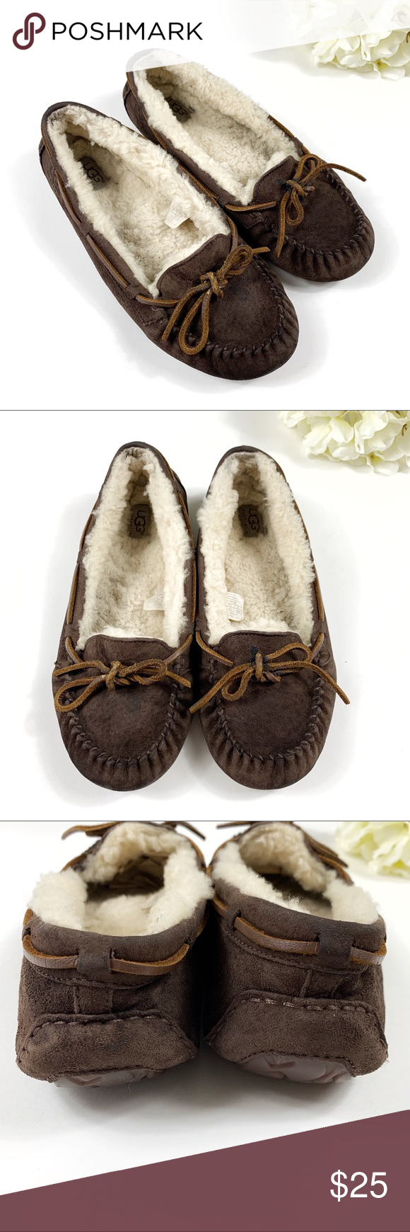6a07b0d3bf8b Ugg Dakota Slippers in Espresso - Size 9 Ugg Dakota Slipper Moccasins -  Espresso Brown color with cream color fur inside - Women s Size 9 -  Preowned  Good ...