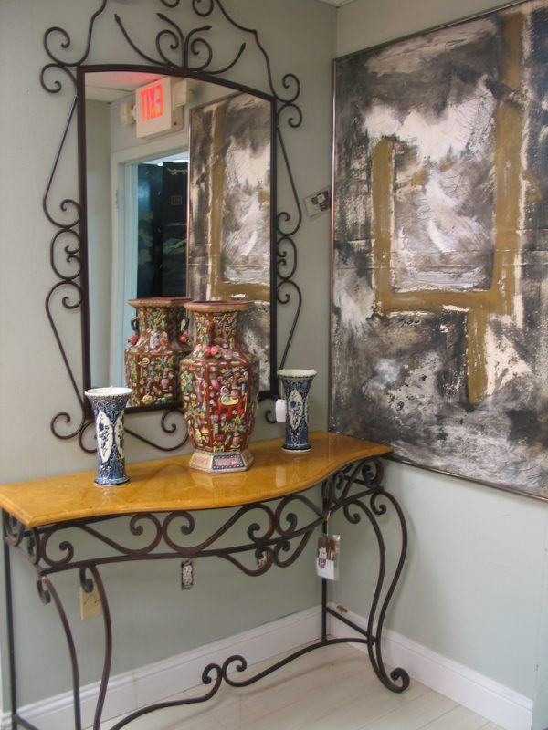 Black Wrought Iron Mirrors | Furniture Enchanting Metal Entry Table And  Mirror Using Wrought Iron .