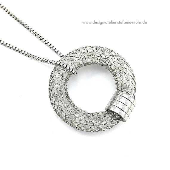 Wire crochet stainless steel donut/ring pendant filled with rock ...
