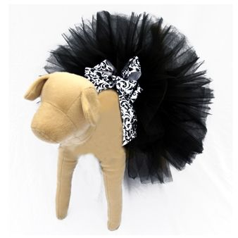 Elegant Black Tutu for Dogs with damask ribbon bow! Available at http://doggyinwonderland.com/item_1783/Elegant-Black-Tutu-for-Dogs.htm starting at $22.00!