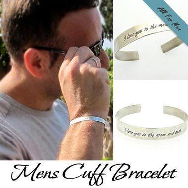 Custom Sterling Silver Mens Cuff Bracelet Birthday Gift Ideas Mens Anniversary Gifts Mens Cuff Bracelets Sterling Silver Cuff Bracelet
