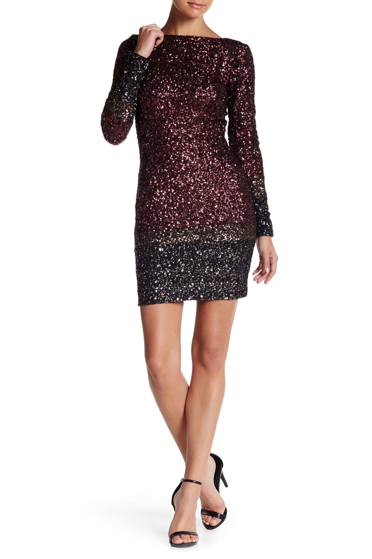 Embellished long sleeve back zip dress by dress the population on