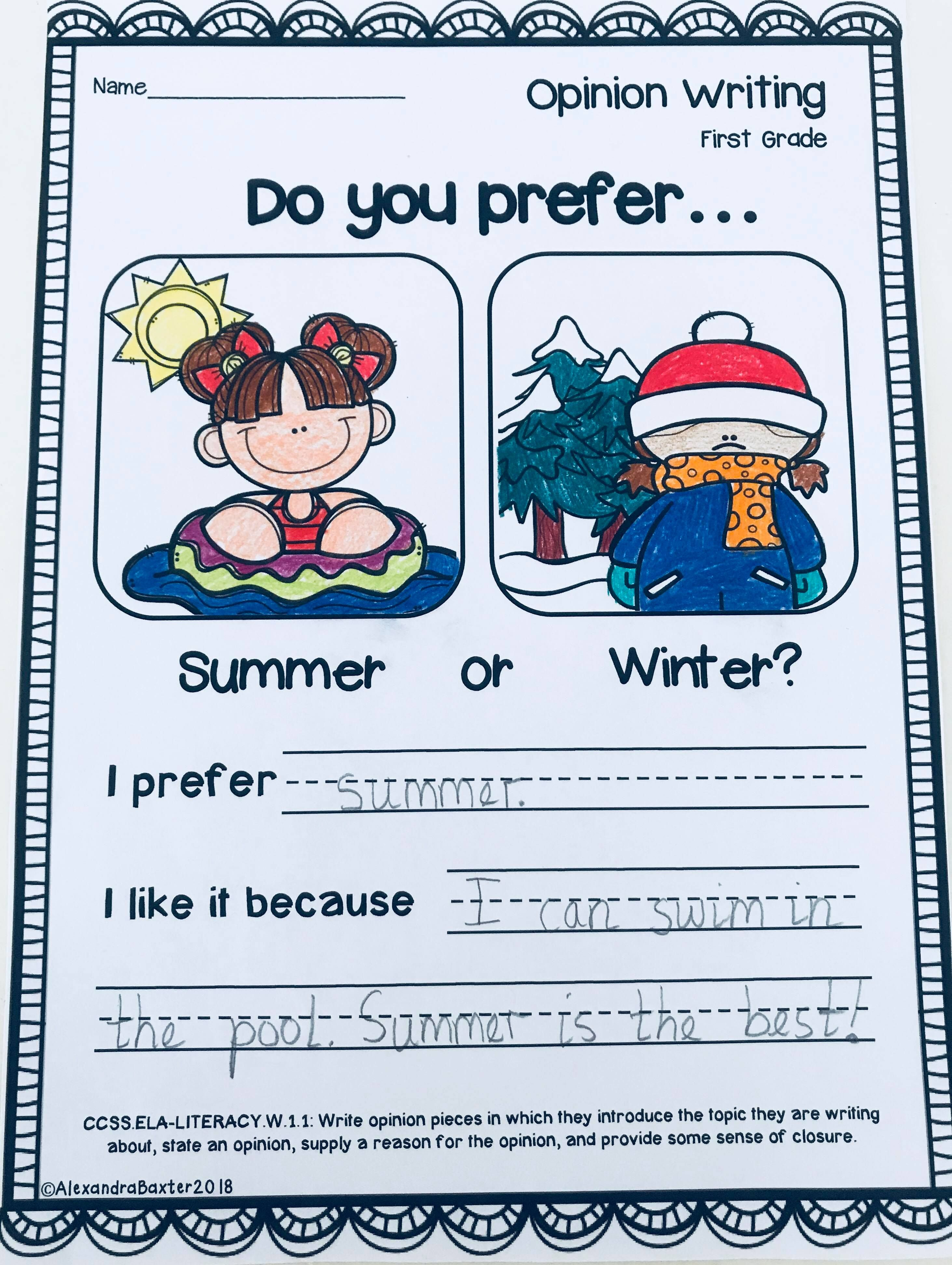 First Grade Opinion Writing Prompts Worksheets