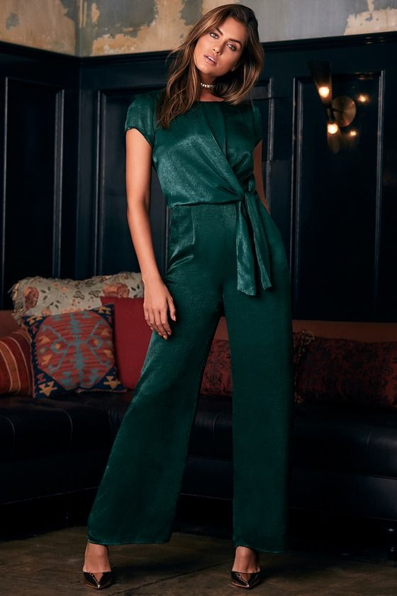 07cab5deedd Let Me Entertain You Forest Green Satin Wide-Leg Jumpsuit in 2019 ...