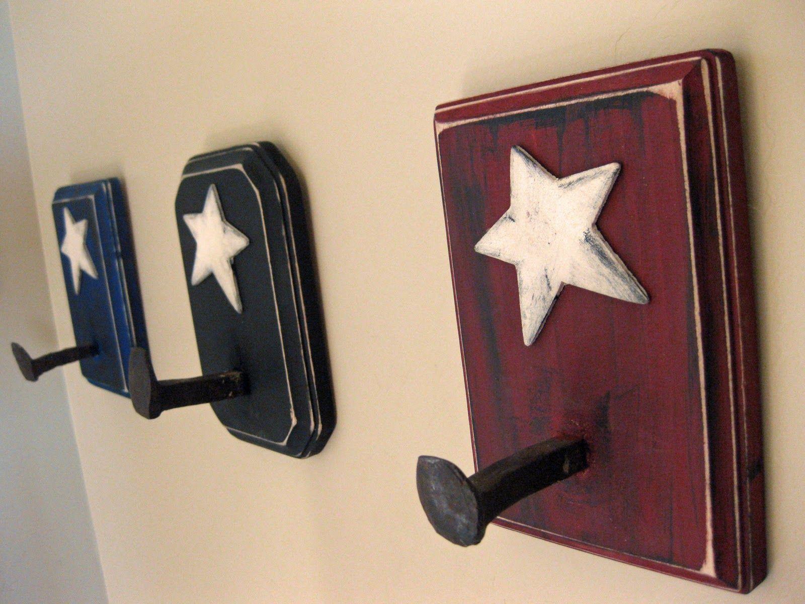 Military Themed Room Patriotic Bedroom Railroad Spikes Crafts American Flag Decor American flag bathroom decor