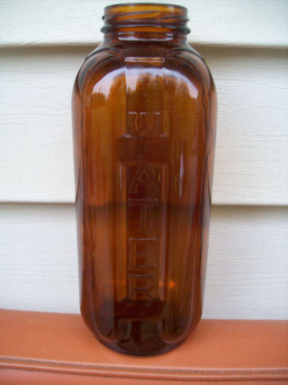 Vintage 1960 39 S Amber Glass Water Juice Refrigerator Bottle