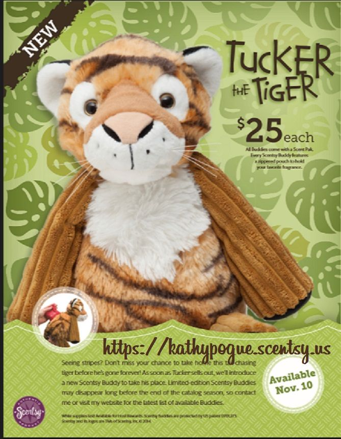 """Available Nov.10th at https://kathypogue.scentsy.us !!! Limited Edition!! Only available while supplies last -  """"Tucker the Tiger"""" Get him before he's gone!!"""