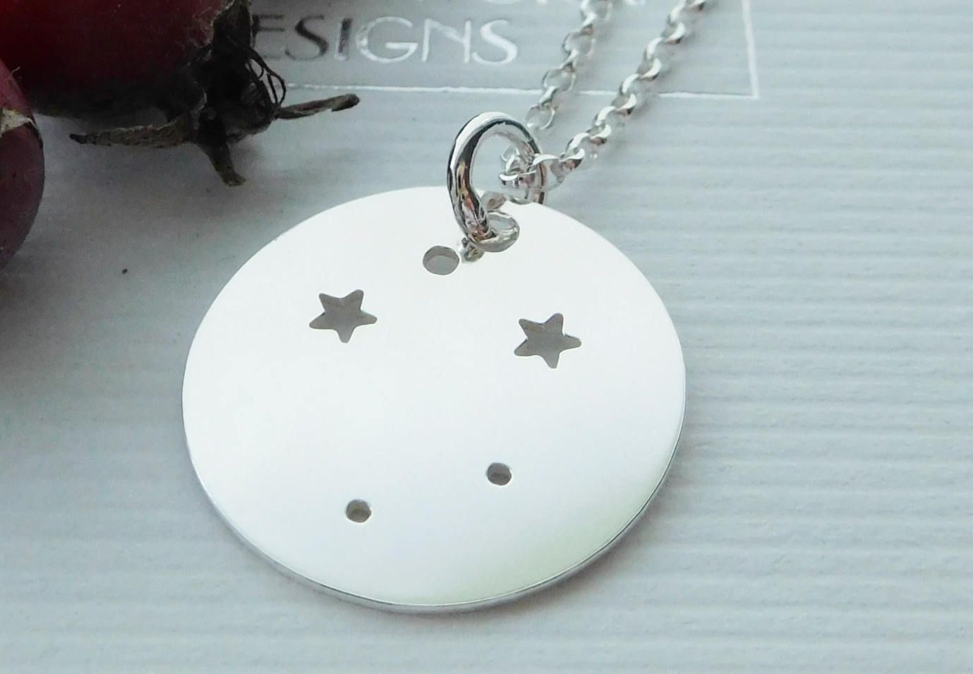 Sterling silver libra constellation necklace zodiac pendant star