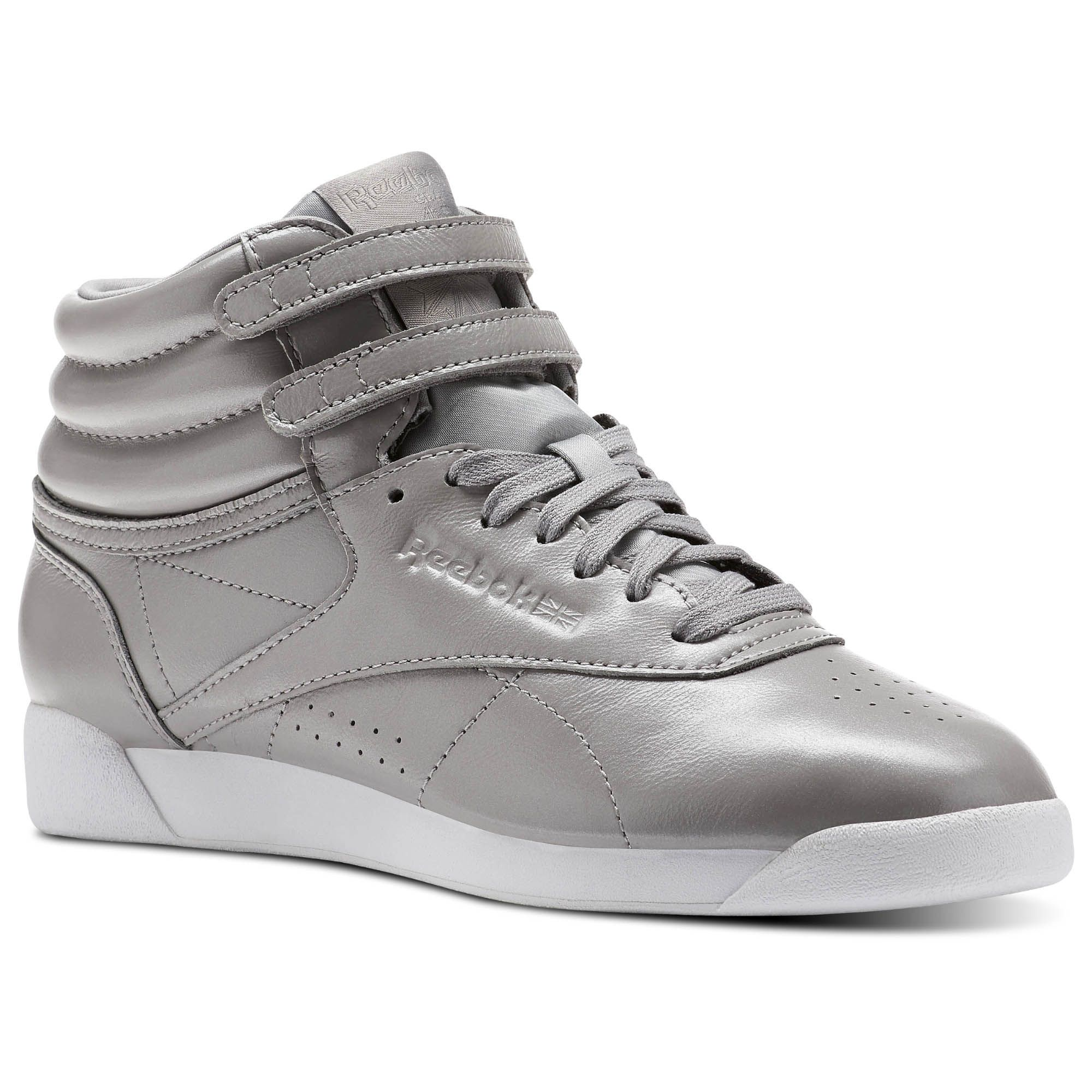 6698aa83c03674 Shop for Freestyle Hi Iridescent - Grey at reebok.com. See all the styles  and colors of Freestyle Hi Iridescent - Grey at the official Reebok US  online ...