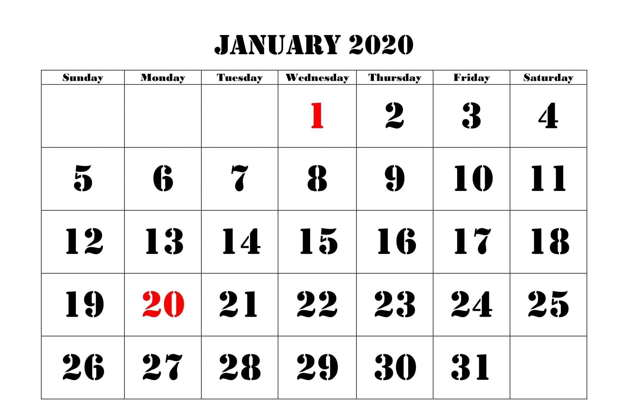 2020 January Holidays Calendar Printable Templates With Images