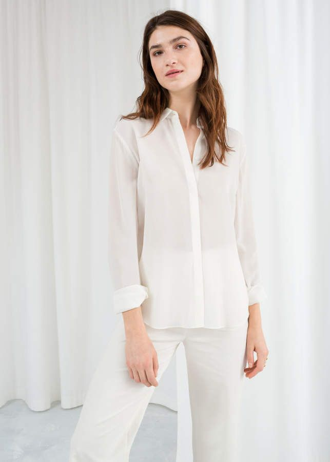 a4edca32f1e54 And other stories Straight Fit Silk Shirt